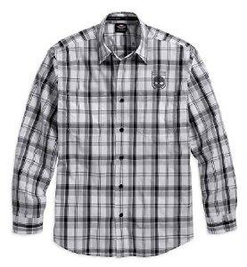 Harley-Davidson Men's Skull Shield Plaid Shirt LS, Black/Grey. 99008-16VM (2XL) Black/Grey/White