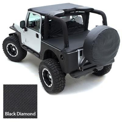 Smittybilt Standard Bikini Top Combo For Jeep Wrangler 1997-06 - Includes Black Diamond Bikini Top and Windshield - 90104 Windshield