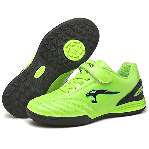 Boys Girls Turf Cleats Soccer Kids Cleats Soccer Shoe Athletic Performance Lightweight Breathable Synthetic Leather Flexible Outdoor/Indoor Football Training Boots Sport Sneakers (Toddler/Little Kid/Big Kid) Green 32
