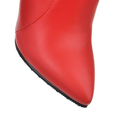 Allhqfashion Mujeres Pu Low Top Solid Cremallera Spikes Stilettos Botas Rojo