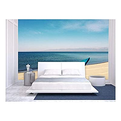 Stunning Piece of Art, Large Wall Mural Blue Boat on The Beach by Seaside Vinyl Wallpaper Removable Wall Decor, That You Will Love