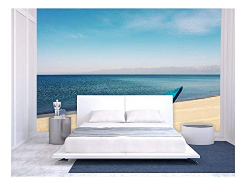 Large Wall Mural Blue Boat on The Beach by Seaside Vinyl Wallpaper Removable Wall Decor
