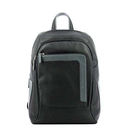 Laptop Backpack in leather 14.0 Nero Grigio