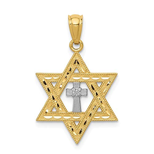 14k Yellow Gold Diamond Jewish Jewelry Star Of David Cross Religious Pendant Charm Necklace Judaica Fine Jewelry Gifts For Women For Her