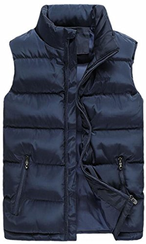 Collar Winter Puffer Brd Solid UK Thick Vest Down Coat Hot Men's Blue Stand Jacket YZTZx