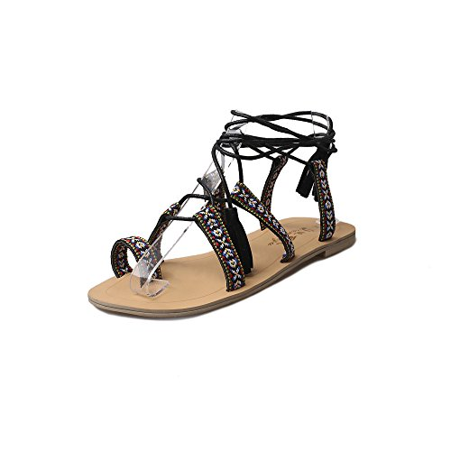 Hunpta Frauen Gladiator Sommer Stiefel Strappy Bandage Clip Ring Toe flache  Sandalen Schwarz