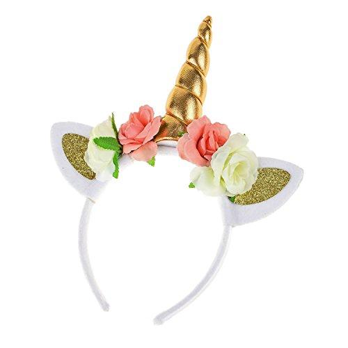 Floral Fall Rainbow Unicorn Horn Headband Girl Birthday Crown Headpiece DJ-03 (xGold)