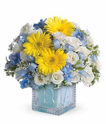 Soft Blues Bouquet - Baby Born Flower Delivery - New Baby Gifts Arrangements - Baby Boy Gifts and Flowers - Baby Girl Flowers & Gifts by (New Baby Girl Arrangement)