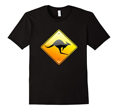 Mens Kangaroo Crossing Traffic Road Street Sign T-Shirt Warning Small -