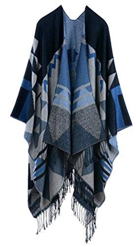 Battercake Donna Poncho E Mantelle Grandi Scialle Knitted Eleganti Vintage Inverno Bohemian Etno-Style Outwear Tassels Reversibile Calda Kashmir Mantellina Scialle Cardigan Cappotto