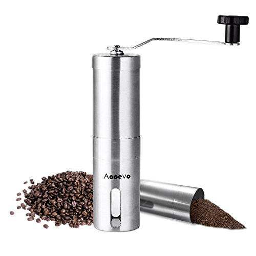Manual Coffee Grinder, Accevo Hand Coffee Grinder & Coffee Press, Perfect Coffee Grinder for French Press, Espresso or as a Spice Grinder or Herb Grinder (Coffee Grinder Press compare prices)