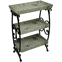 Zeckos Metal Standing Shelves Vintage French Postcard Motif 3 Tier Stand 21 X 30 X 12.5 Inches Multicolored