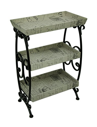Zeckos Metal Standing Shelves Vintage French Postcard Motif 3 Tier Stand 21 X 30 X 12.5 Inches Multicolored by Zeckos