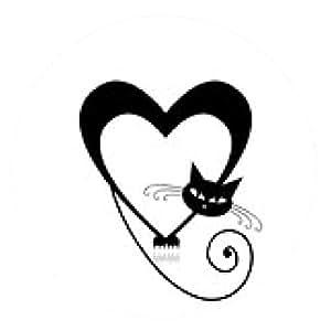 alfombrilla de ratón Me encanta la silueta del gato para su diseño - ronda - 20cm