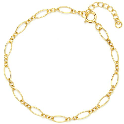"- BENIQUE Bracelet for Women Girls – Dainty 14K Gold Filled Chain for Layering Stacking, Minimalist Jewelry, Made in USA, 6.5""-7.5"" Adjustable (Lace/G)"