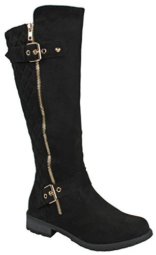 JJF Shoes Mango-21 Women's Winkle Back Shaft Side Zip Knee High Flat Riding Boots Black Nubuck 10