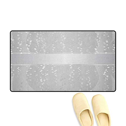 Border Big Bold (zojihouse Grey Floor Mat Pattern Vertical Wavy Lines with Festive Little Dots and a Bold Border Christmas Celebration Size:16