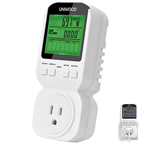 Uniwood Energy Usage Monitor, Electricity Power Meter Outlet - Watt Voltage Amps Wall Socket with LCD/Overload Warning for Electric Appliances