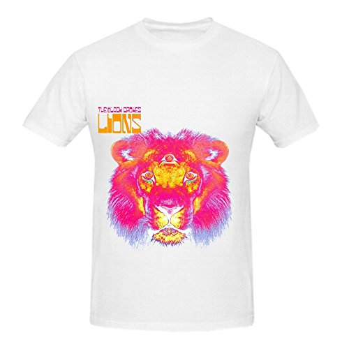 Black Crowes Lions Electronica Mens Round Neck Cotton T Shirts White