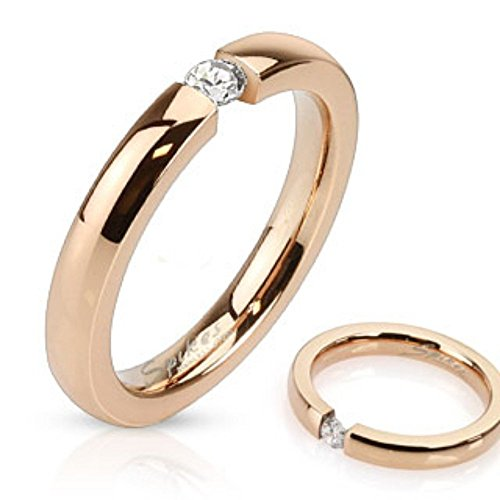 Engraved Tension Set Ring - 3mm Tension Set CZ Rose Gold IP Band Ring
