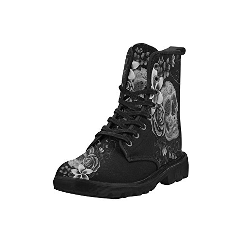 InterestPrint Day Of The Dead Skulls Flowers and Herbs Lace Up Boots Fashion Shoes For Women Black Sole Skull Flowers Xdp8qfWs3