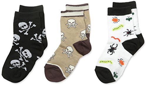 Country Kids Boys' Creepy Crawly Bugs and Skull Sock 3 Pair, White/Chocolate/Black, 6-7/2-4 Years