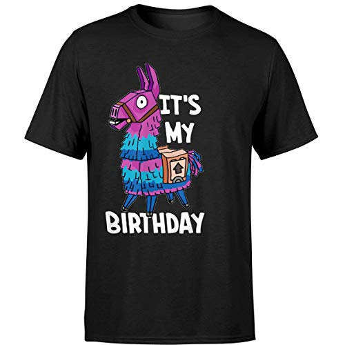 It's My Birthday Loot Llama Victory Gaming Gamer Bday Shirt (Unisex T-Shirt/Black/XL) -