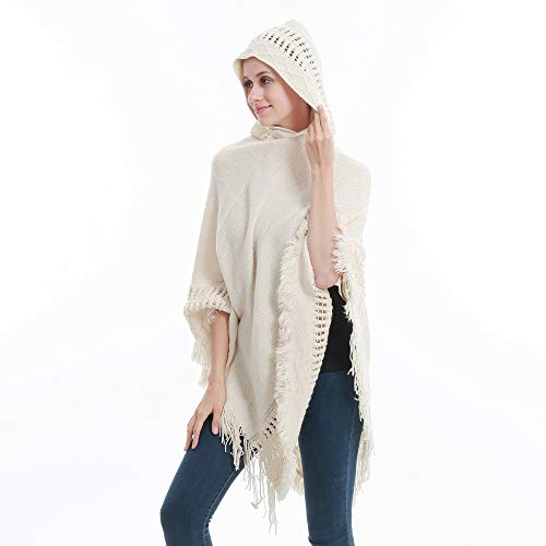 Sefilko Womens Knitted Hooded Poncho Tops Shawl Cape Batwing Blouse With Fringed Sides For Lady (Beige) by Sefilko (Image #3)