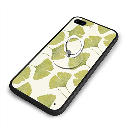 Green Ginko Leaves Mobile PhoneCase and Ring Stand Holder Liquid Silicone Cover with Comfortable Grip Phone Ring Stand Scratch Resistance