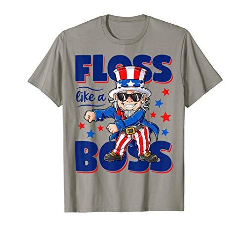 (Floss Like a Boss 4th of July Shirt Kids Boys Girl Uncle Sam T-Shirt)