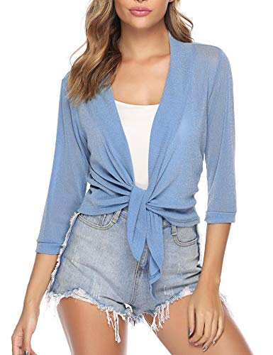 iClosam Womens Tie Front 3/4 Sleeve Sheer Shrug Cropped Bolero Cardigan (#1Blue(Sequin), Small)
