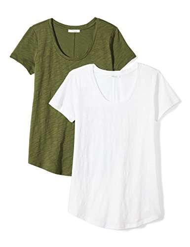 Daily Ritual Women's Vintage Cotton Slub Short-Sleeve Scoop Neck T-Shirt, 2-Pack, M, White/Cypress (Ladies Scoop Neck Tee)