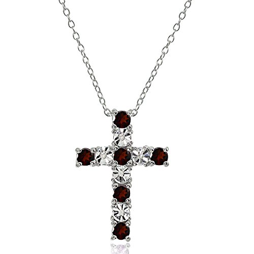 Sterling Silver Garnet Cross Religious Pendant Necklace Garnet Religious Cross