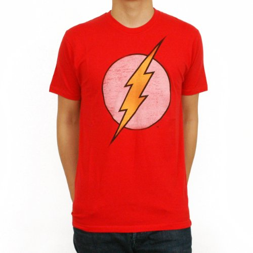 Bioworld Men's Flash Logo T-Shirt,Red,Large Mens Flash