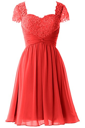 MACloth Women Cap Sleeve Cocktail Dress Short Lace Chiffon Mother of Bride Dress Rojo