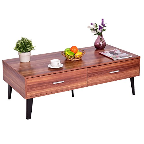 Premium Low Wooden Coffee Table With Two Drawers Contemporary Home And Living Room. Walnut Brown by Goplus