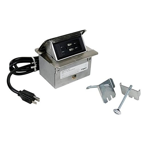 Wiremold DQFP15UST Multiple Channel Table Box Single-Flip Up Unit With USB Dequrum™