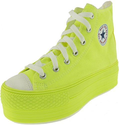 Maxstar Women#039s C50 7 Holes Zipper Platform Canvas High Top All Sneakers Neon Green 7 BM US