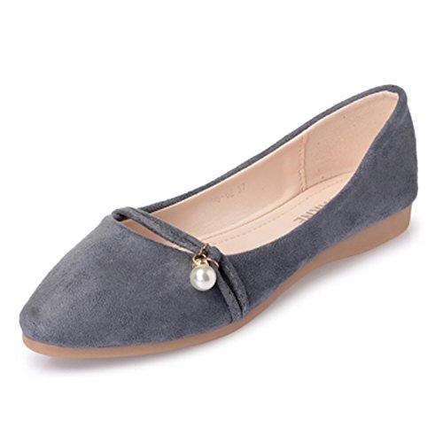 Baqijian Women Shoes Woman Flats Suede Pointed Toe Rubber Women Flat Shoe Grey -