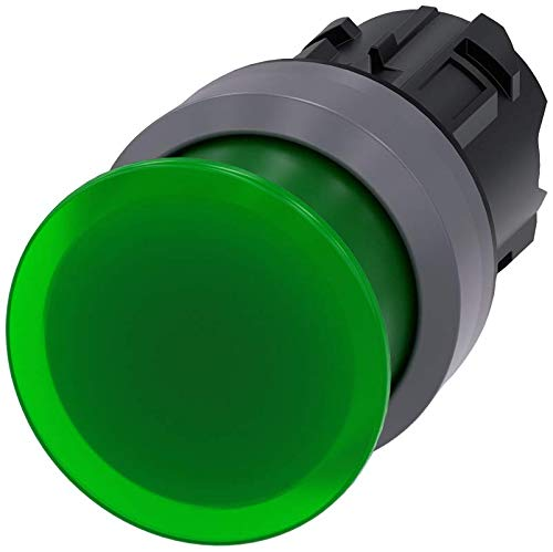 Siemens 3SU10311AD400AA0 Illum. Mushroom Pushbutton, 30mm, Plastic with Metal Front Ring, IP66, IP67, IP69K Protection Rating, Matte Metal, 22mm, Green