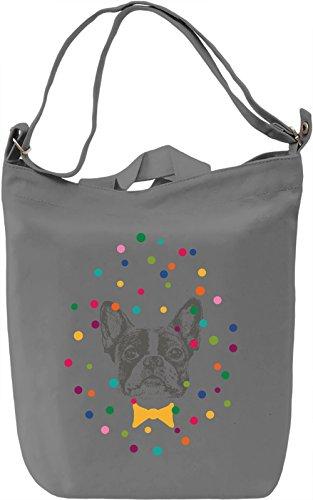 Polka dot frenchie Borsa Giornaliera Canvas Canvas Day Bag| 100% Premium Cotton Canvas| DTG Printing|