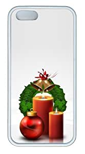 Christmas decoration balls and candles TPU White poetic iphone 5S case for Apple iPhone 5/5S