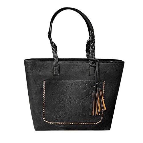 Femmes Décoration Tassel Sac à main Grand dames Capacité Sacs à bandoulière en cuir PU Fille Zipper Sac fourre-tout quotidien Arichtop Noir