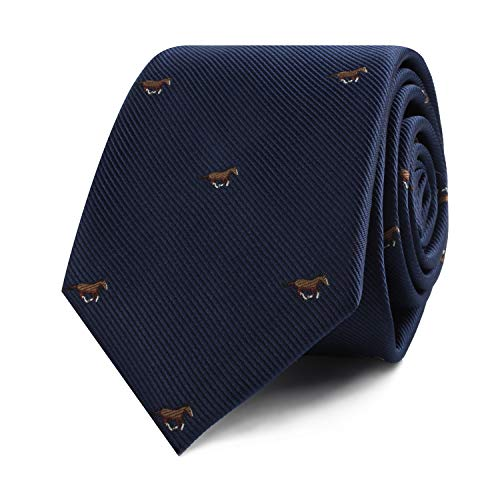 Horse Racing Tie | Gift for Men | Work Ties for Him | Birthday Gift for Guys (Brown Horse)