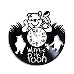 Kovides Winnie-The-Pooh Disney Cartoon for Boys Girls Vintage Vinyl Record Clock Large Winnie The Pooh Wall Clock Minimalist Decor for Kids Room Original Clock for Kids