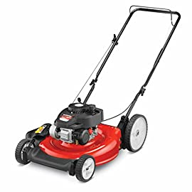 "Yard Machines 140cc 21-Inch Push Mower 27 Powered by a durable 140cc OHV engine Equipped with a 21"" steel deck with dual-lever height adjustment This Yard Machines Push Lawn Mower is perfect for mowing small to medium sized yards"
