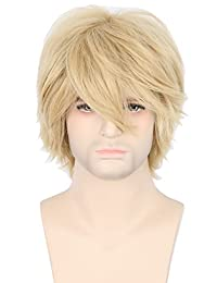 Topcosplay Women Men Wig Blonde Short Layered Fluffy Cosplay Halloween Wigs
