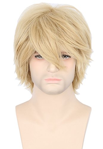 Topcosplay Women or Men Wig Blonde Short Layered