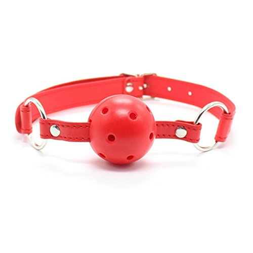 Funky Time Adult Costumes (Role Play Halloween Masquerade Restraints Flirting S&M BDSM Fetish Bondage Leather Mouth Gag ,Hollow plastic ball (Red))