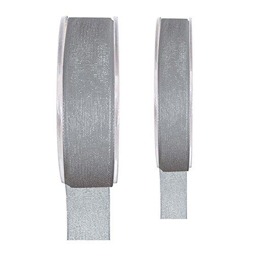 Band Schleifenband 15 mm x 20 m grau - Dekoband Organzaband - 2558.15